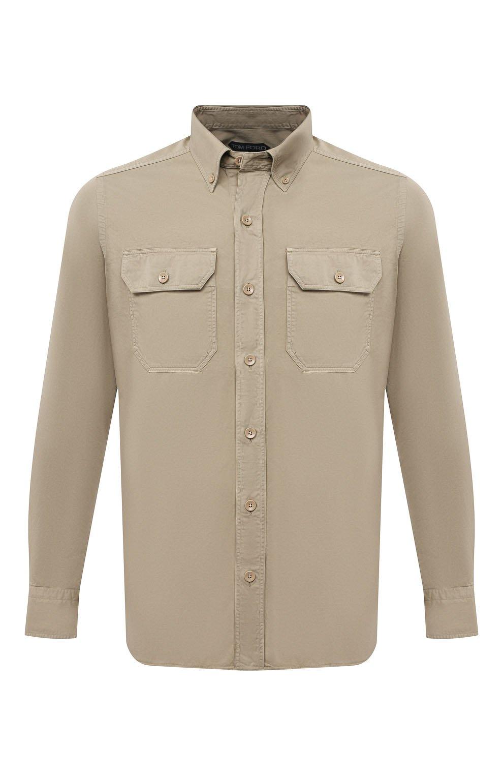 Мужская хлопковая рубашка TOM FORD бежевого цвета, арт. 9FT649/94UDAN | Фото 1