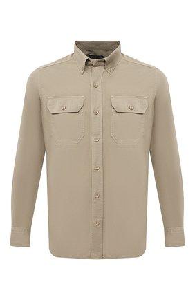 Мужская хлопковая рубашка TOM FORD бежевого цвета, арт. 9FT649/94UDAN | Фото 1 (Рубашки М: Slim Fit; Воротник: Button down; Стили: Кэжуэл; Рукава: Длинные; Манжеты: На пуговицах; Случай: Повседневный; Принт: Однотонные; Материал внешний: Хлопок; Длина (для топов): Стандартные)