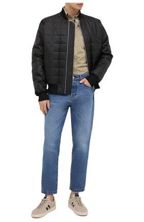 Мужская хлопковая рубашка TOM FORD бежевого цвета, арт. 9FT649/94UDAN | Фото 2 (Рубашки М: Slim Fit; Воротник: Button down; Стили: Кэжуэл; Рукава: Длинные; Манжеты: На пуговицах; Случай: Повседневный; Принт: Однотонные; Материал внешний: Хлопок; Длина (для топов): Стандартные)