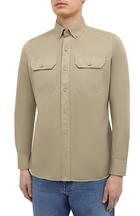 Мужская хлопковая рубашка TOM FORD бежевого цвета, арт. 9FT649/94UDAN | Фото 3