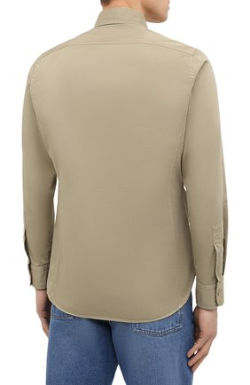Мужская хлопковая рубашка TOM FORD бежевого цвета, арт. 9FT649/94UDAN | Фото 4