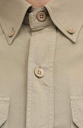 Мужская хлопковая рубашка TOM FORD бежевого цвета, арт. 9FT649/94UDAN | Фото 5