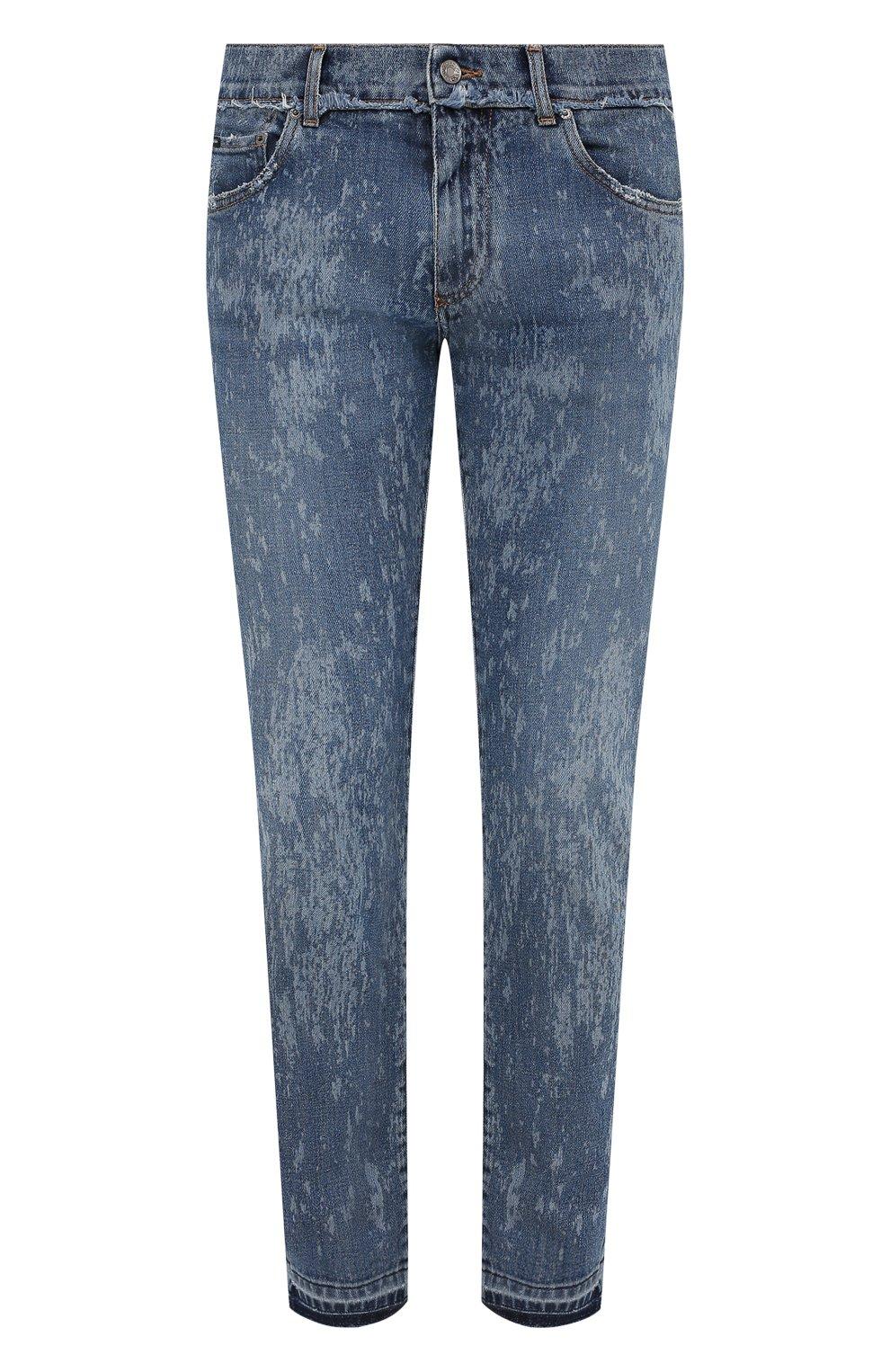 Мужские джинсы DOLCE & GABBANA синего цвета, арт. GYC4LD/G8DN6   Фото 1 (Силуэт М (брюки): Узкие; Кросс-КТ: Деним; Длина (брюки, джинсы): Стандартные; Стили: Гранж; Материал внешний: Хлопок; Детали: Потертости)