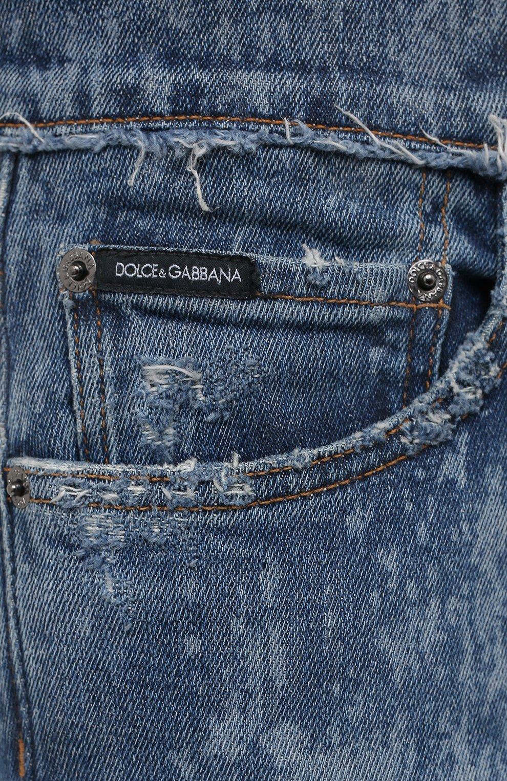 Мужские джинсы DOLCE & GABBANA синего цвета, арт. GYC4LD/G8DN6   Фото 5 (Силуэт М (брюки): Узкие; Кросс-КТ: Деним; Длина (брюки, джинсы): Стандартные; Стили: Гранж; Материал внешний: Хлопок; Детали: Потертости)