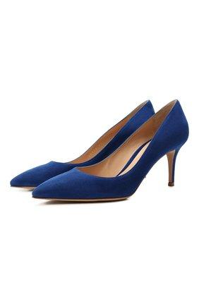 Женские замшевые туфли gianvito 70 GIANVITO ROSSI синего цвета, арт. G26770.70RIC.CAMHAWA | Фото 1