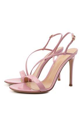 Женские кожаные босоножки manhattan GIANVITO ROSSI розового цвета, арт. G30161.15RIC.VERGLAZ   Фото 1