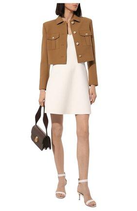 Женские кожаные босоножки portofino 70 GIANVITO ROSSI белого цвета, арт. G60088.70RIC.NAPBIAN   Фото 2 (Подошва: Плоская; Материал внутренний: Натуральная кожа; Каблук высота: Средний; Каблук тип: Шпилька)