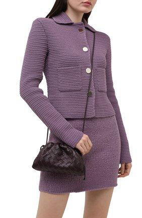 Женский клатч pouch mini BOTTEGA VENETA темно-фиолетового цвета, арт. 585852/VCPP1 | Фото 2 (Материал: Натуральная кожа; Ремень/цепочка: На ремешке; Женское Кросс-КТ: Клатч-клатчи; Размер: mini)
