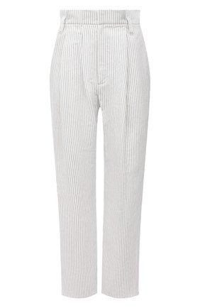 Женские брюки из хлопка и льна BRUNELLO CUCINELLI белого цвета, арт. MF787P7636 | Фото 1