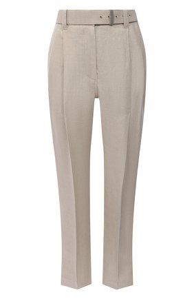 Женские льняные брюки BRUNELLO CUCINELLI светло-бежевого цвета, арт. MH506P7644 | Фото 1