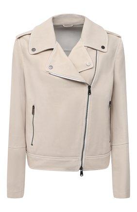 Женская замшевая куртка BRUNELLO CUCINELLI белого цвета, арт. MPCAI8795 | Фото 1