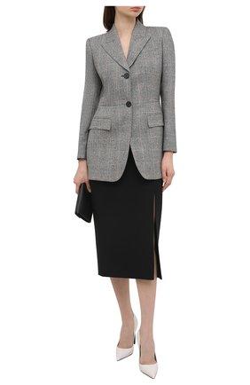 Женский шерстяной жакет ALEXANDER MCQUEEN серого цвета, арт. 649770/QJAB0 | Фото 2