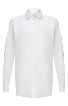 Мужская хлопковая сорочка BRIONI белого цвета, арт. RCL40L/0905B | Фото 1 (Воротник: Кент; Материал внешний: Хлопок; Рубашки М: Classic Fit; Рукава: Длинные; Манжеты: На пуговицах; Случай: Формальный; Длина (для топов): Стандартные; Стили: Классический; Принт: Однотонные; Big sizes: Big Sizes)