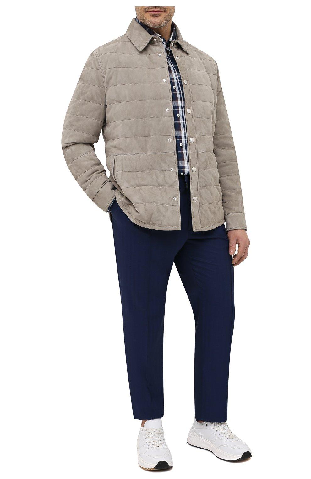 Мужские шерстяные брюки BRIONI темно-синего цвета, арт. RPM20L/P0A9I/NEW SIDNEY   Фото 2