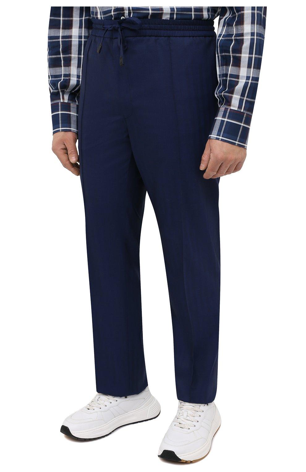 Мужские шерстяные брюки BRIONI темно-синего цвета, арт. RPM20L/P0A9I/NEW SIDNEY   Фото 3