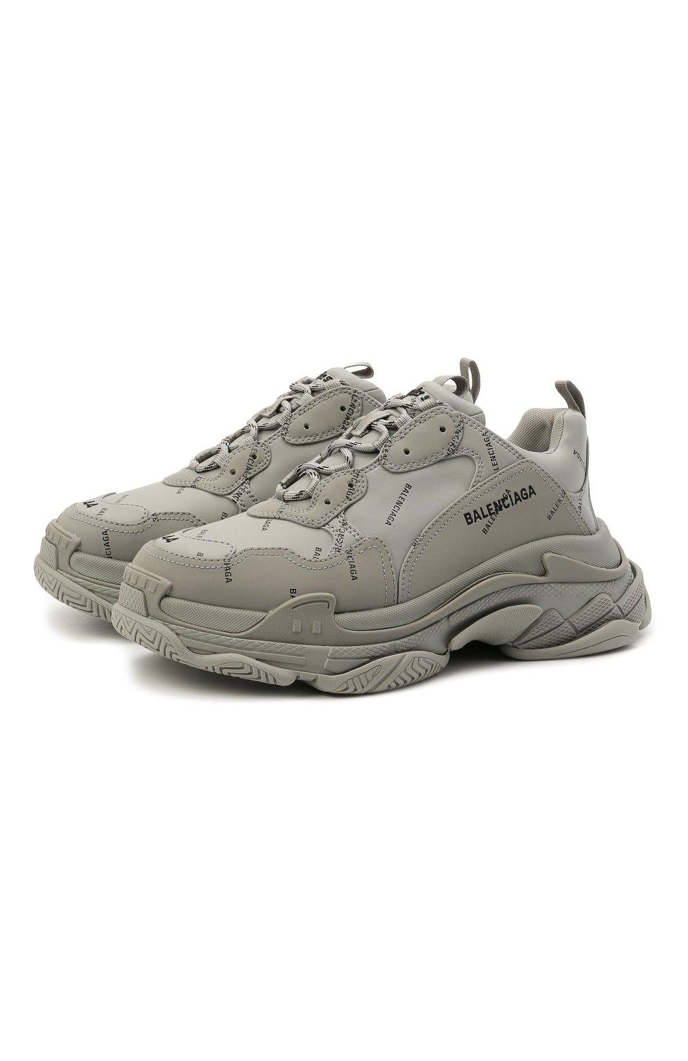 Мужские комбинированные кроссовки triple s BALENCIAGA серого цвета, арт. 536737/W2FA1 | Фото 1 (Материал внешний: Текстиль; Материал внутренний: Текстиль; Подошва: Массивная)