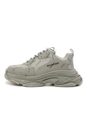 Мужские комбинированные кроссовки triple s BALENCIAGA серого цвета, арт. 536737/W2FA1 | Фото 4 (Материал внешний: Текстиль; Материал внутренний: Текстиль; Подошва: Массивная)