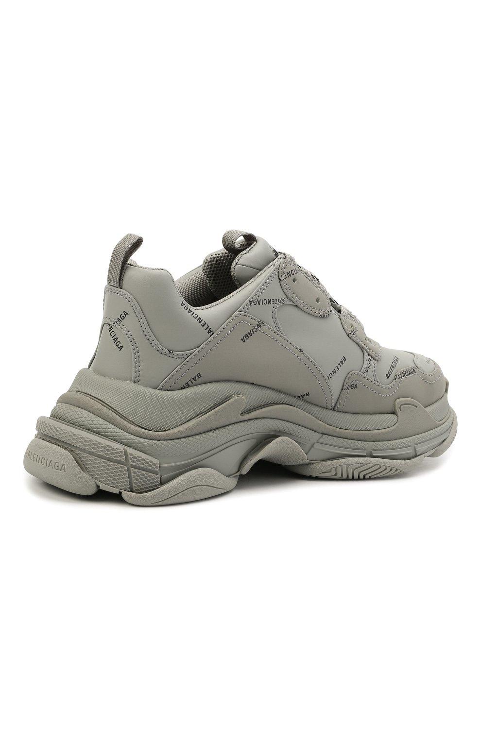 Мужские комбинированные кроссовки triple s BALENCIAGA серого цвета, арт. 536737/W2FA1 | Фото 5 (Материал внешний: Текстиль; Материал внутренний: Текстиль; Подошва: Массивная)