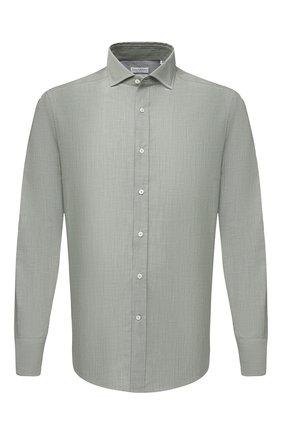 Мужская хлопковая рубашка BRUNELLO CUCINELLI хаки цвета, арт. MW6460028 | Фото 1