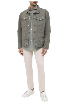 Мужская хлопковая рубашка BRUNELLO CUCINELLI хаки цвета, арт. MW6460028 | Фото 2