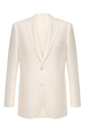 Мужской пиджак из шерсти и шелка BRIONI белого цвета, арт. RG0J0Q/P0A5I/BRUNIC0 | Фото 1