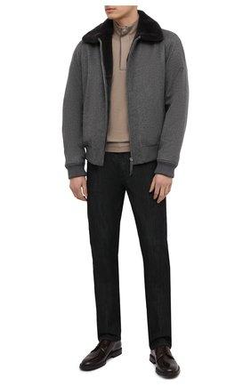 Мужской кашемировый бомбер с меховой подкладкой ANDREA CAMPAGNA серого цвета, арт. 93600H9FE8900 | Фото 2 (Мужское Кросс-КТ: шерсть и кашемир, утепленные куртки; Материал внешний: Кашемир, Шерсть; Длина (верхняя одежда): Короткие; Принт: Без принта; Стили: Классический; Рукава: Длинные; Кросс-КТ: Куртка; Материал утеплителя: Натуральный мех)