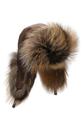 Женская шапка-ушанка из меха лисы KUSSENKOVV коричневого цвета, арт. 90904466153 | Фото 1
