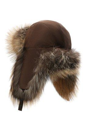 Женская шапка-ушанка из меха лисы KUSSENKOVV коричневого цвета, арт. 90904466153 | Фото 2