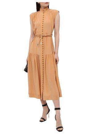 Женские кожаные босоножки  BALMAIN черного цвета, арт. VN1C577/LGDT | Фото 2 (Материал внутренний: Натуральная кожа; Каблук высота: Высокий; Подошва: Плоская; Материал внешний: Кожа; Каблук тип: Шпилька)