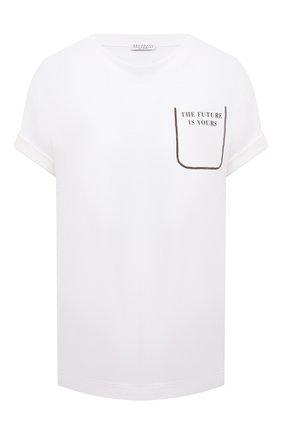 Женская хлопковая футболка BRUNELLO CUCINELLI белого цвета, арт. M0A45BP100 | Фото 1