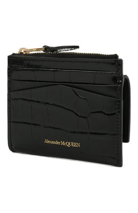 Женский кожаный футляр для кредитных карт ALEXANDER MCQUEEN черного цвета, арт. 648023/1JMFG | Фото 2
