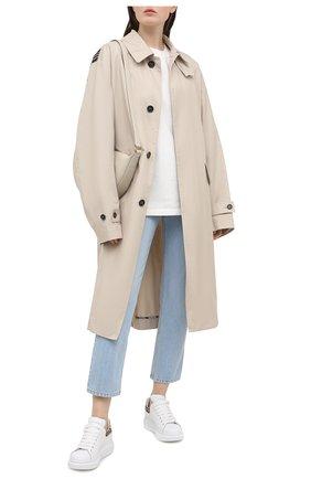 Женские кожаные кеды xl sole ALEXANDER MCQUEEN белого цвета, арт. 650787/WHZ4T | Фото 2 (Материал внутренний: Натуральная кожа; Подошва: Платформа)