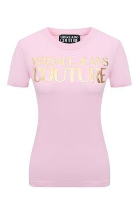 Женская хлопковая футболка VERSACE JEANS COUTURE розового цвета, арт. B2HWA7TB-WDP608 L0G0 F0IL/30319 | Фото 1