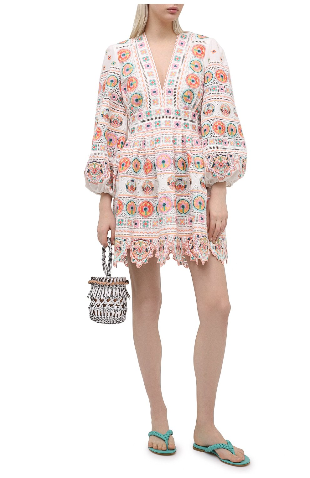 Женское хлопковое платье ZIMMERMANN разноцветного цвета, арт. 9351DBRG | Фото 2