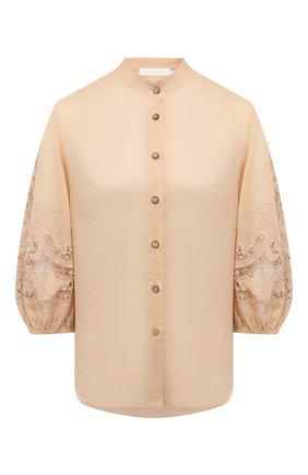 Женская хлопковая блузка ZIMMERMANN бежевого цвета, арт. 9374TBRG | Фото 1