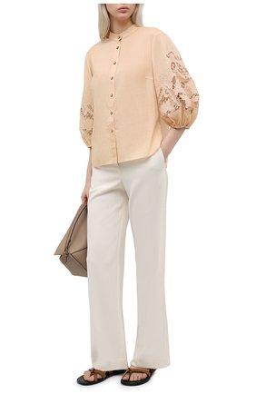 Женская хлопковая блузка ZIMMERMANN бежевого цвета, арт. 9374TBRG | Фото 2
