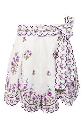 Женские льняные шорты ZIMMERMANN сиреневого цвета, арт. 9576AP0P | Фото 1