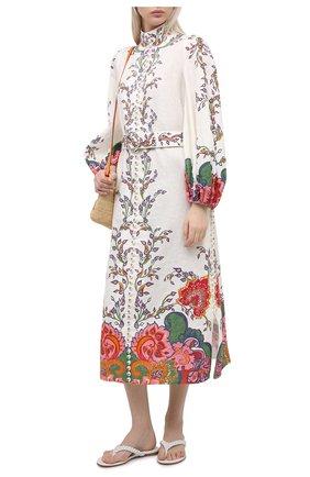 Женское льняное платье ZIMMERMANN белого цвета, арт. 9719DAND | Фото 2