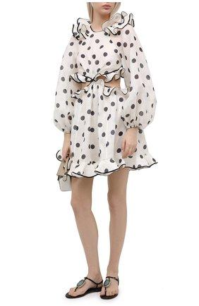Женское платье из шелка и льна ZIMMERMANN черно-белого цвета, арт. 9939DAND | Фото 2