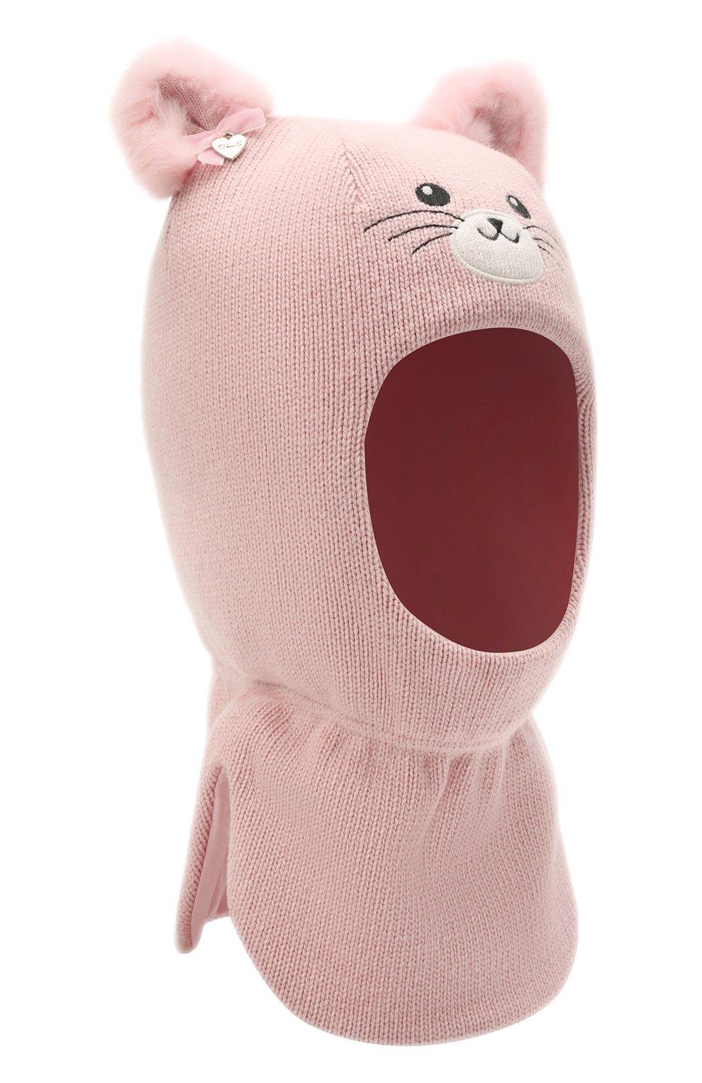 Детского шерстяная балаклава CHOBI светло-розового цвета, арт. WH-3003   Фото 1 (Материал: Текстиль, Шерсть, Вискоза)