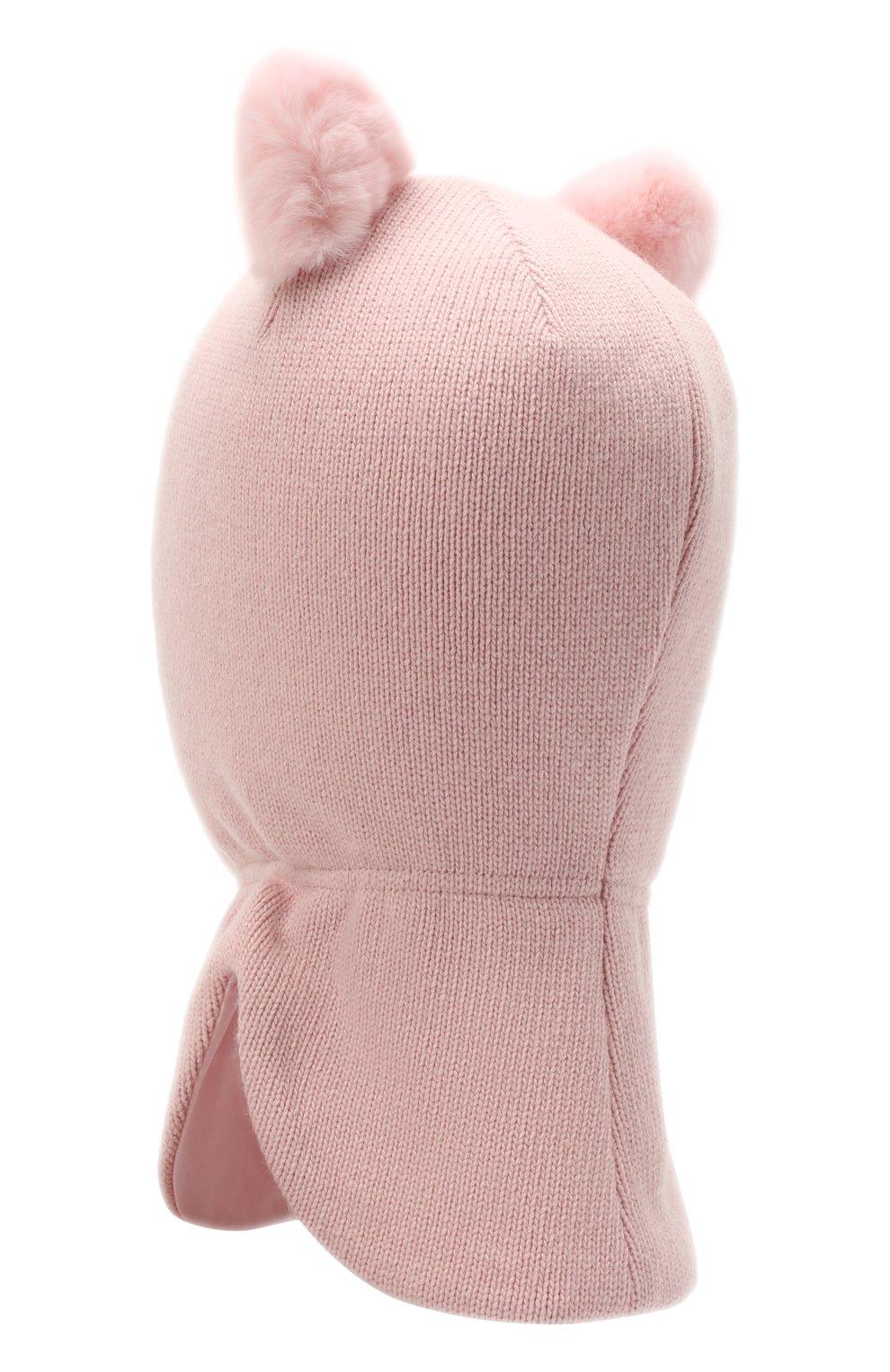 Детского шерстяная балаклава CHOBI светло-розового цвета, арт. WH-3003   Фото 2 (Материал: Текстиль, Шерсть, Вискоза)