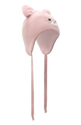 Детского шерстяная шапка CHOBI светло-розового цвета, арт. WH-3000 | Фото 1