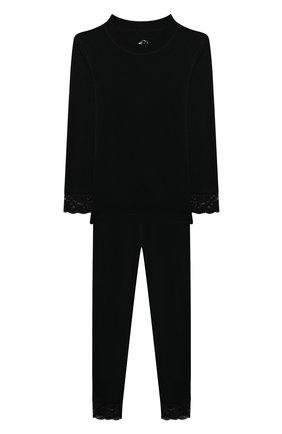 Детская комплект из лонгслива и брюк WOOL&COTTON черного цвета, арт. BRUFPK | Фото 1