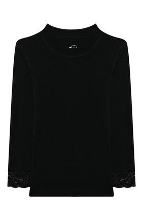 Детская комплект из лонгслива и брюк WOOL&COTTON черного цвета, арт. BRUFPK | Фото 2