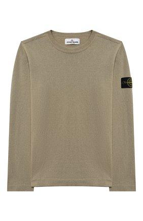 Детский хлопковый пуловер STONE ISLAND хаки цвета, арт. 7416509A2/10-12 | Фото 1