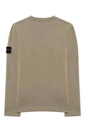 Детский хлопковый пуловер STONE ISLAND хаки цвета, арт. 7416509A2/10-12 | Фото 2