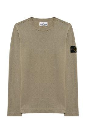 Детский хлопковый пуловер STONE ISLAND хаки цвета, арт. 7416509A2/14 | Фото 1