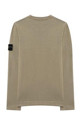 Детский хлопковый пуловер STONE ISLAND хаки цвета, арт. 7416509A2/14 | Фото 2