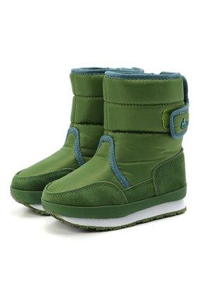 Детские утепленные сапоги RUBBER DUCK зеленого цвета, арт. 562-4005-W | Фото 1 (Материал внешний: Текстиль; Материал утеплителя: Шерсть)