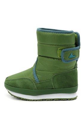 Детские утепленные сапоги RUBBER DUCK зеленого цвета, арт. 562-4005-W | Фото 2 (Материал внешний: Текстиль; Материал утеплителя: Шерсть)